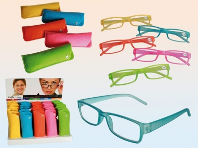 Lesebrille im Filz-Etui mit Kunststoffgestell, Neon, 5 Stärken, 5 Farben