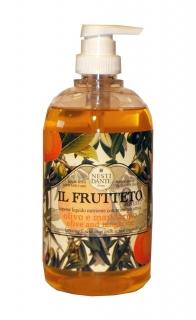 Nesti Dante Sapone Liquido 500 ml Flüssigseifen im Schmuck-Dispenser, Il Frutteto, Olive Tangerine